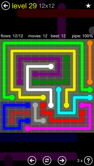 Solution and Answer to the Puzzle for Flow 12mania Pack Set 12x12 Level 29