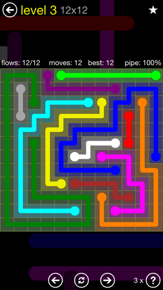 Solution and Answer to the Puzzle for Flow 12mania Pack Set 12x12 Level 3