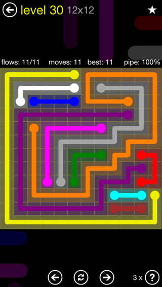 Solution and Answer to the Puzzle for Flow 12mania Pack Set 12x12 Level 30