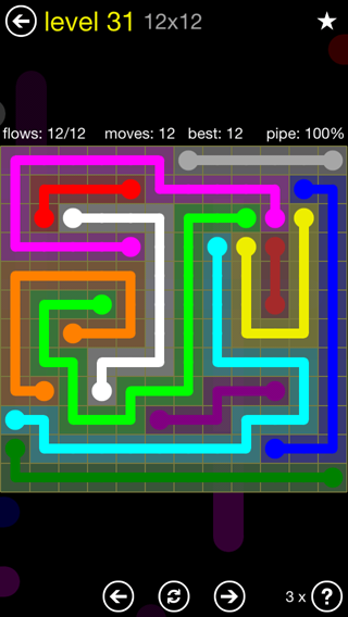 Solution and Answer to the Puzzle for Flow 12mania Pack Set 12x12 Level 31