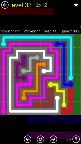 Solution and Answer to the Puzzle for Flow 12mania Pack Set 12x12 Level 33