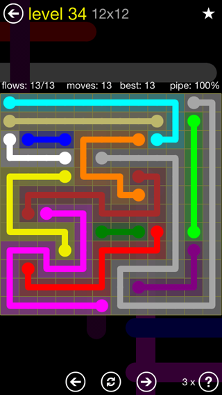 Solution and Answer to the Puzzle for Flow 12mania Pack Set 12x12 Level 34