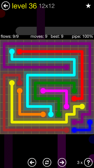 Solution and Answer to the Puzzle for Flow 12mania Pack Set 12x12 Level 36