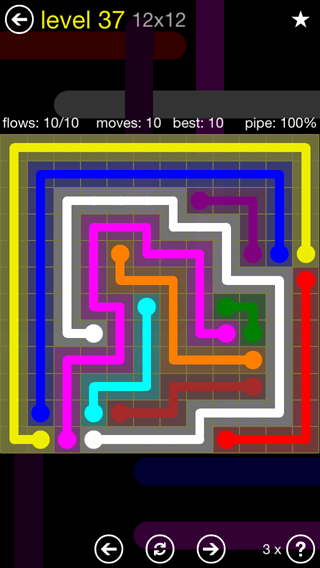 Solution and Answer to the Puzzle for Flow 12mania Pack Set 12x12 Level 37