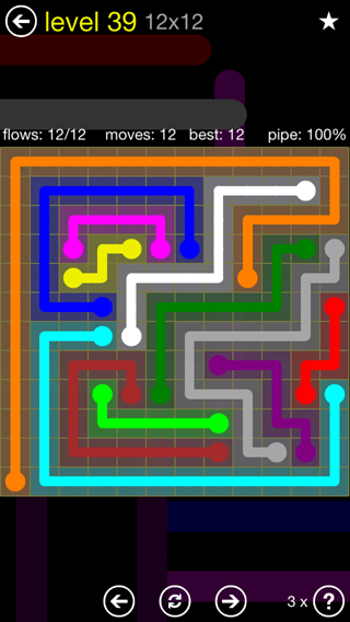 Solution and Answer to the Puzzle for Flow 12mania Pack Set 12x12 Level 39