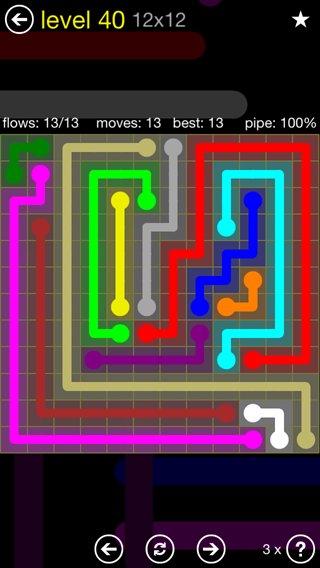 Solution and Answer to the Puzzle for Flow 12mania Pack Set 12x12 Level 40