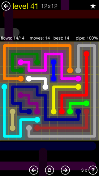 Solution and Answer to the Puzzle for Flow 12mania Pack Set 12x12 Level 41