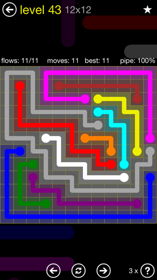 Solution and Answer to the Puzzle for Flow 12mania Pack Set 12x12 Level 43