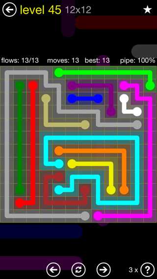 Solution and Answer to the Puzzle for Flow 12mania Pack Set 12x12 Level 45
