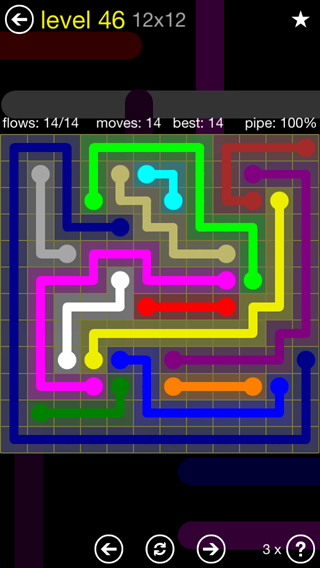Solution and Answer to the Puzzle for Flow 12mania Pack Set 12x12 Level 46