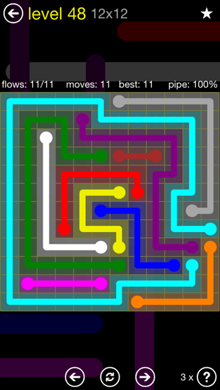 Solution and Answer to the Puzzle for Flow 12mania Pack Set 12x12 Level 48