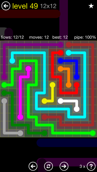 Solution and Answer to the Puzzle for Flow 12mania Pack Set 12x12 Level 49