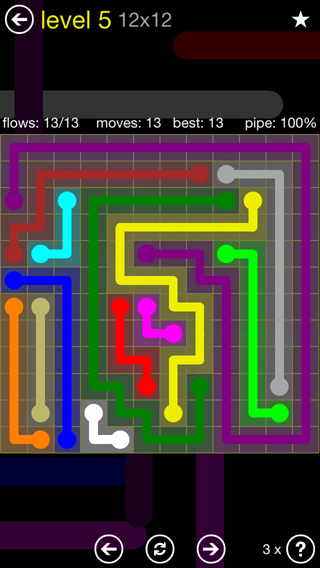 Solution and Answer to the Puzzle for Flow 12mania Pack Set 12x12 Level 5