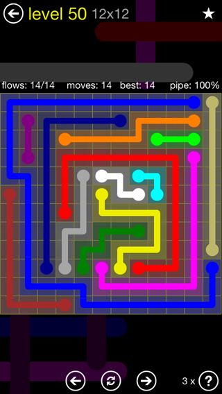 Solution and Answer to the Puzzle for Flow 12mania Pack Set 12x12 Level 50