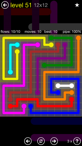 Solution and Answer to the Puzzle for Flow 12mania Pack Set 12x12 Level 51