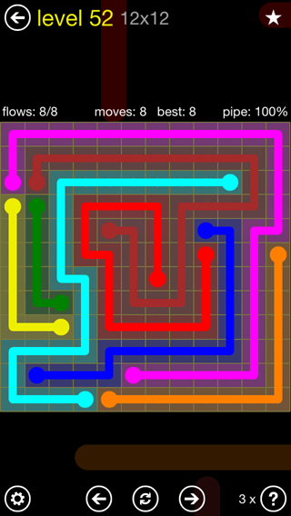 Solution and Answer to the Puzzle for Flow 12mania Pack Set 12x12 Level 52