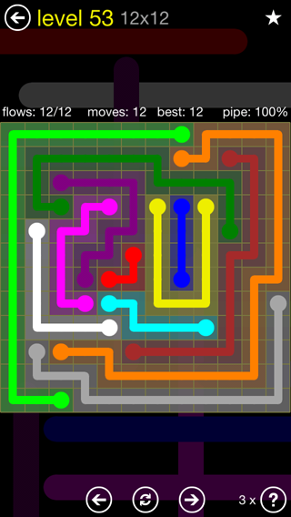 Solution and Answer to the Puzzle for Flow 12mania Pack Set 12x12 Level 53