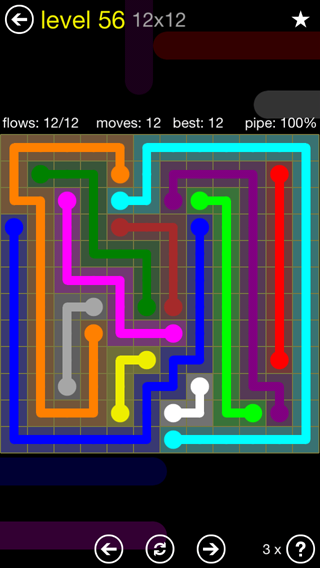 Solution and Answer to the Puzzle for Flow 12mania Pack Set 12x12 Level 56