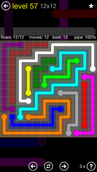 Solution and Answer to the Puzzle for Flow 12mania Pack Set 12x12 Level 57