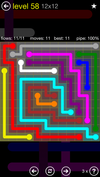 Solution and Answer to the Puzzle for Flow 12mania Pack Set 12x12 Level 58