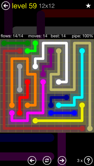 Solution and Answer to the Puzzle for Flow 12mania Pack Set 12x12 Level 59