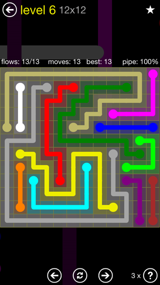 Solution and Answer to the Puzzle for Flow 12mania Pack Set 12x12 Level 6
