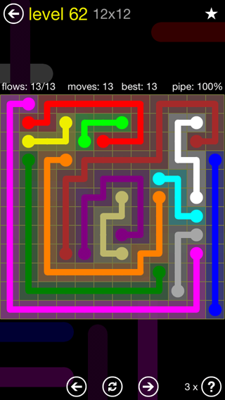 Solution and Answer to the Puzzle for Flow 12mania Pack Set 12x12 Level 62