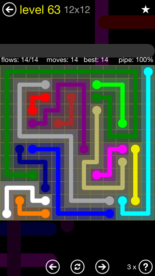 Solution and Answer to the Puzzle for Flow 12mania Pack Set 12x12 Level 63