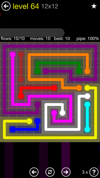 Solution and Answer to the Puzzle for Flow 12mania Pack Set 12x12 Level 64