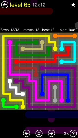 Solution and Answer to the Puzzle for Flow 12mania Pack Set 12x12 Level 65