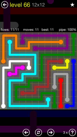 Solution and Answer to the Puzzle for Flow 12mania Pack Set 12x12 Level 66