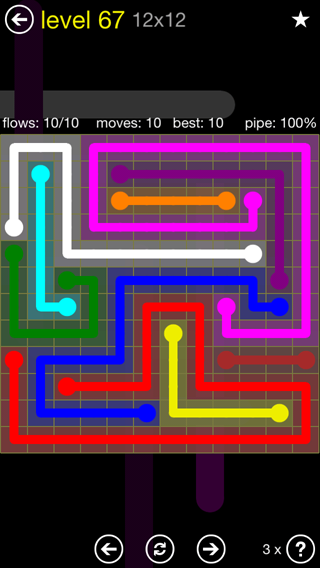 Solution and Answer to the Puzzle for Flow 12mania Pack Set 12x12 Level 67