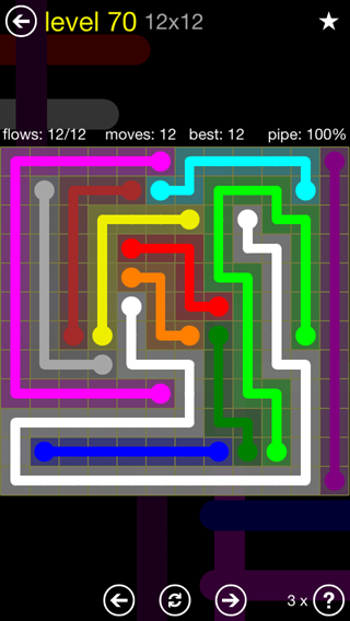 Solution and Answer to the Puzzle for Flow 12mania Pack Set 12x12 Level 70