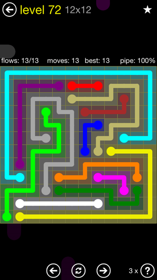 Solution and Answer to the Puzzle for Flow 12mania Pack Set 12x12 Level 72