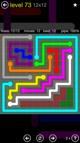Solution and Answer to the Puzzle for Flow 12mania Pack Set 12x12 Level 73