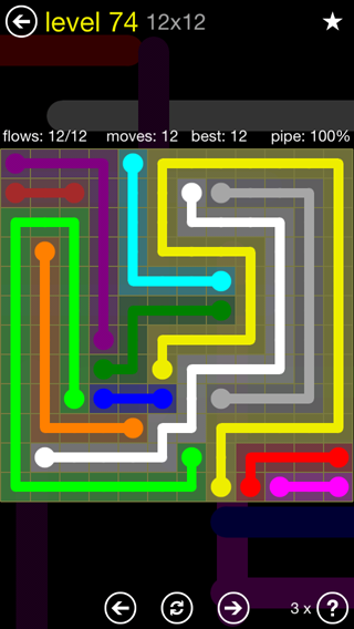Solution and Answer to the Puzzle for Flow 12mania Pack Set 12x12 Level 74