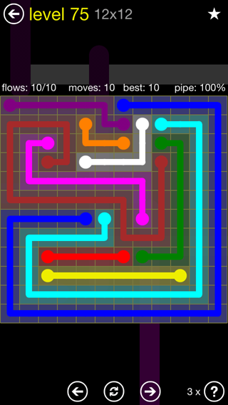 Solution and Answer to the Puzzle for Flow 12mania Pack Set 12x12 Level 75