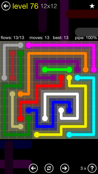 Solution and Answer to the Puzzle for Flow 12mania Pack Set 12x12 Level 76