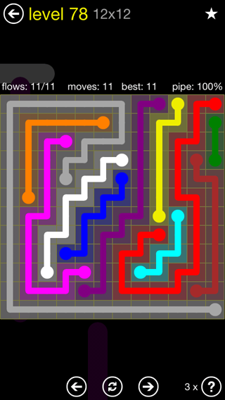 Solution and Answer to the Puzzle for Flow 12mania Pack Set 12x12 Level 78