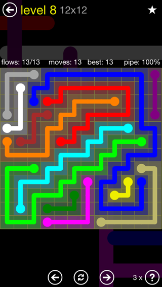 Solution and Answer to the Puzzle for Flow 12mania Pack Set 12x12 Level 8