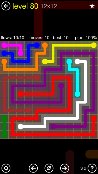 Solution and Answer to the Puzzle for Flow 12mania Pack Set 12x12 Level 80