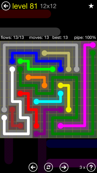 Solution and Answer to the Puzzle for Flow 12mania Pack Set 12x12 Level 81