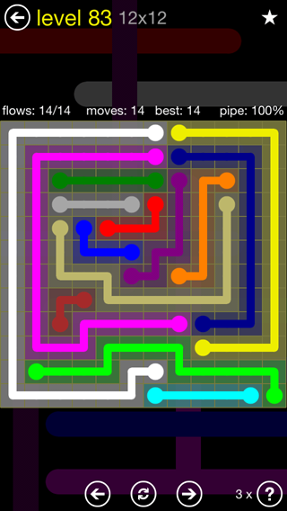 Solution and Answer to the Puzzle for Flow 12mania Pack Set 12x12 Level 83
