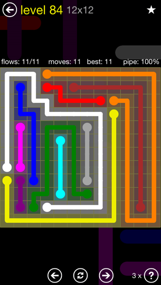 Solution and Answer to the Puzzle for Flow 12mania Pack Set 12x12 Level 84