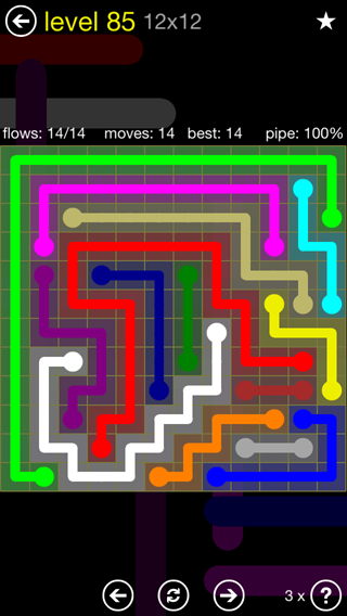 Solution and Answer to the Puzzle for Flow 12mania Pack Set 12x12 Level 85