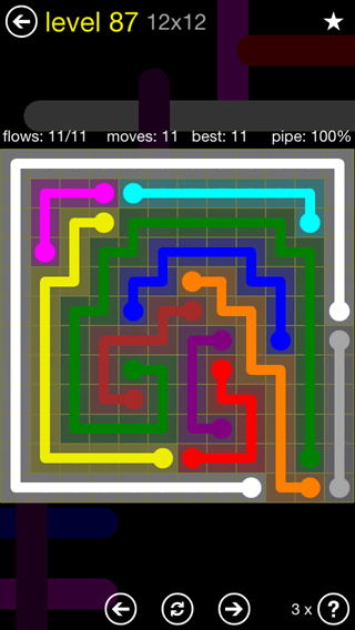 Solution and Answer to the Puzzle for Flow 12mania Pack Set 12x12 Level 87