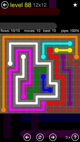 Solution and Answer to the Puzzle for Flow 12mania Pack Set 12x12 Level 88