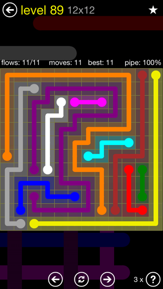 Solution and Answer to the Puzzle for Flow 12mania Pack Set 12x12 Level 89