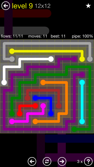 Solution and Answer to the Puzzle for Flow 12mania Pack Set 12x12 Level 9