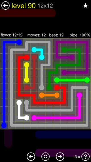 Solution and Answer to the Puzzle for Flow 12mania Pack Set 12x12 Level 90